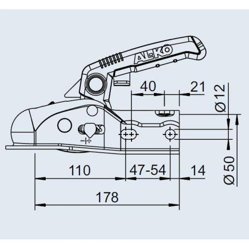 Kuglekobling 1600Kg AL-KO AK161 Ø35/45/50mm