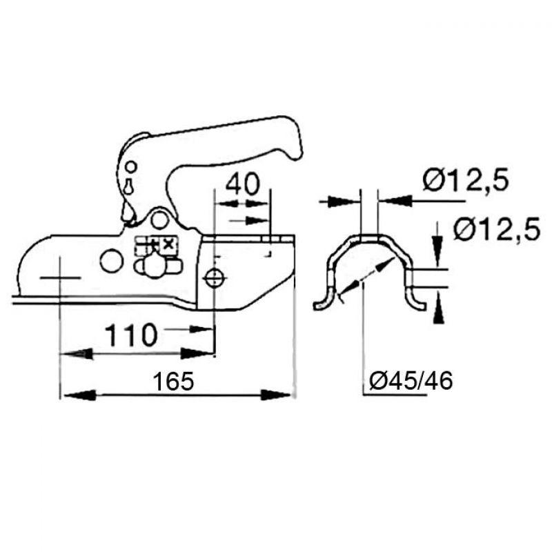 Kuglekobling 3000Kg ALBE EM300R-A Ø45 46mm